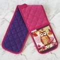Owl Oven Gloves Purple and Pink | Oven Mitts | Farmhouse Decor | Librarian Gifts