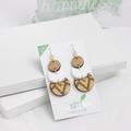 Long dangle earrings - laser cut wooden jewelry - wooden drop earrings