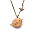 Bird necklace - wooden necklace - gift for tween - animal necklace - bird jewelr