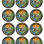 12 x Pokémon Round Glossy 60mm Stickers