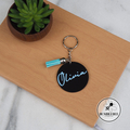 Black Personalised Name Keyring with tassel. Great Gift Idea Colourful Keys