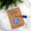 Enamel & Gold Scroll Keyring with MONOGRAM. 10 Colours available.