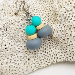 Turquoise and grey geometric bead earrings, on stainless steel hooks.
