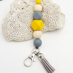 Yellow, grey and wood bead lanyard with grey tassel