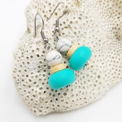 Turquoise and marble geometric bead earrings, on stainless steel hooks.
