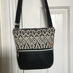 Black & White Aztec Print/Black Cross Body Bag