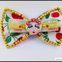 Rockabilly Cherry Girl Button Hair Bow with Barrette Snap Clip.