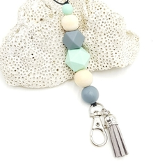 Mint green, grey and wood bead lanyard with grey tassel