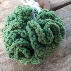 crocheted bath scrubbie made from cornsilk fibre - natural and handmade
