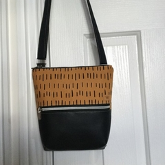 Mustard Dashes/Black Cross Body Bag