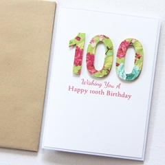 100th Personalised Birthday Card, Handmade, 101st 102nd 103rd 104th 105th