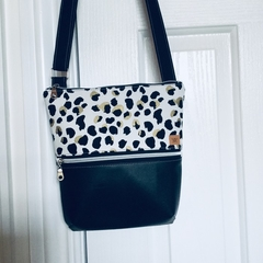 Leopard Print/Black Cross Body Bag