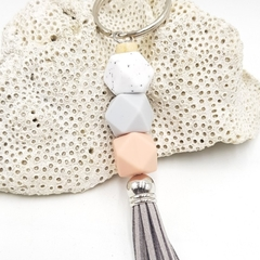 Small tassel keyring in peach, grey, marble silicone beads with grey tassel