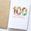 100th + Birthday Personalised card Birthday florals