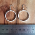 Handmade sterling silver pearl wire hoop earrings, everyday simple and stylish