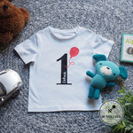 1st Birthday Celebration T-shirt with Balloon and personalised name.