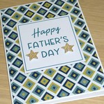 Fathers Day card - green and gold