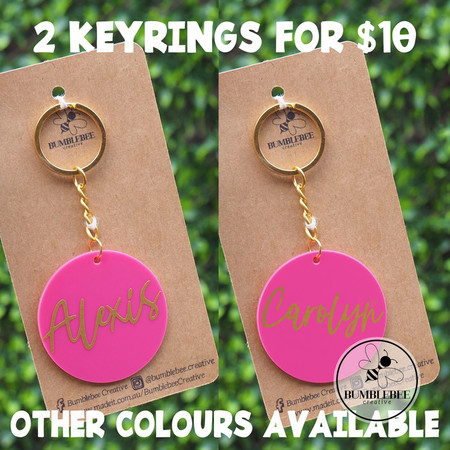 2 for $10 SPECIAL! Pink and Gold Personalised Name Keyring Gift Idea.