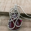 Pink Flash Labradorite Heady Pendant, unique necklace, wire wrapping, Agate