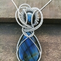 Blue Flash Labradorite Heady Pendant, wire wrapping, Gemstone Jewelry , unique