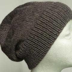 Unisex adult hand knit Slouchy-beanie Stellar 4/4