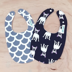 Set of 2 Bibs - French Bulldog - Navy - Grey - Cotton - Baby