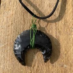 Black obsidian crystal moon