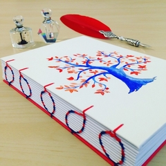 Red & Royal Blue watercolour tree, handmade notebook