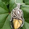 Golden Flash Labradorite Heady Pendant, wire wrapping, unique necklace, Gemstone