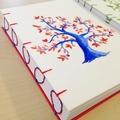 Red & Blue painted tree, handmade notebook