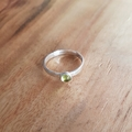 Textured sterling silver peridot ring, wear single or stacked, size US 9