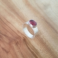 Textured sterling silver rubelite tourmaline ring,  US size 10