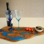 Wood and Blue Resin Grazing Board Platter