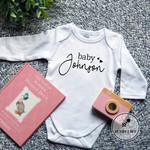Pregnancy Announcement  Baby Bodysuit. New Grandparents or Baby Surname.