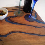 Heavy Wood and Blue Resin Grazing Board Serving Platter Cheese Board Charcuterie