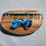 Mr and Mr Wedding Ring Holder - Wood & Rainbow Resin