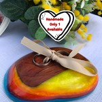 LGBT Wood & Rainbow Resin Wedding Ring Bearer Holder