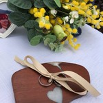 White Resin Heart and Red Australian Jarrah Wood Wedding Ring Holder