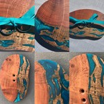Teal Resin and Wood Wedding Ring Holder