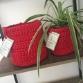 CLEARANCE****Crochet Basket Set -Ruby Red - Medium & Large
