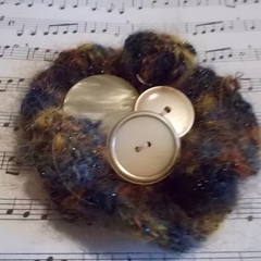 brooch or clip made from mohair blend yarn with vintage buttons ON SALE!!!