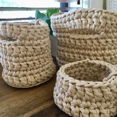 CLEARANCE****Crochet Basket Set of 3 - Small & Tall Mid & Large - Natural