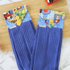 Boys Hanging Hand Towel Blue | Kids Hand Towel | Toddler Gift | Bathroom Decor