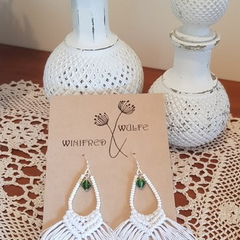 Beaded hemp macrame earrings