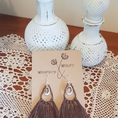 Shell hemp macrame earrings