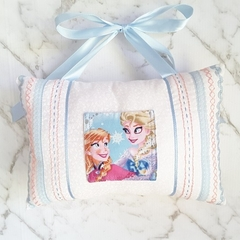 Tooth Fairy Pillow for Girls with Pocket and Embroidery Anna Elsa Princess White