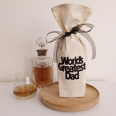 Bottle Gift Bag | World's Greatest Dad | Zero Waste Wrapping | Free Shipping
