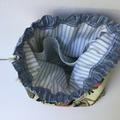 Drawstring knitting craft bag. Beautiful handmade gift.