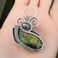 Natural green Flash Labradorite Cabochon, wire wrapping,wrapped,unique, gift