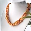 Genuine CARNELIAN Orange 6mm Beads Three Strands Necklace.